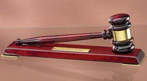 "Rosewood gavel with gold gavel band sitting on rosewood display with engraving plate, GV138 is 12"" x 3"" Size, Weighs 2.2 lbs."
