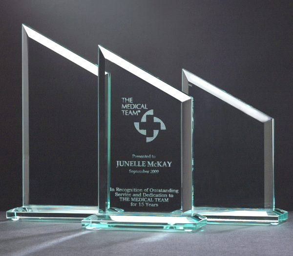 """Zenith peak glass awards mounted on glass base, G2460 is 6.5"""", G2470 is 7.5"""", G2480 is 8.5"""""""