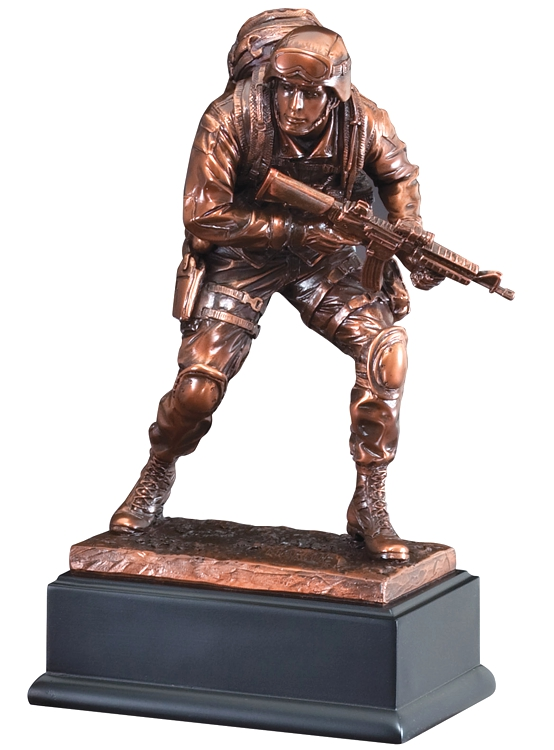 """Bronze marine statue in full gear with gun in hand, mounted on back base, RFB135 is 4"""" x 10"""" Size, Weighs 3.2 lbs."""