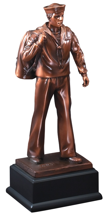 """Bronze navy sailor statue with hat & bag, mounted on black base, RFB132 is 4"""" x 11.5"""" Size, Weighs 3 lbs."""