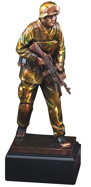"""Military solider statue in camouflage holding gun mounted on black base, RFB063 is 4"""" x 12.5"""" Size, Weighs 3 lbs."""