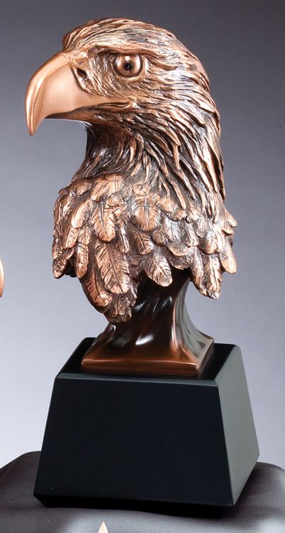 """Bronze eagle head statue on black base, RFB537 is 10"""" tall, Weighs 4.7 lbs"""