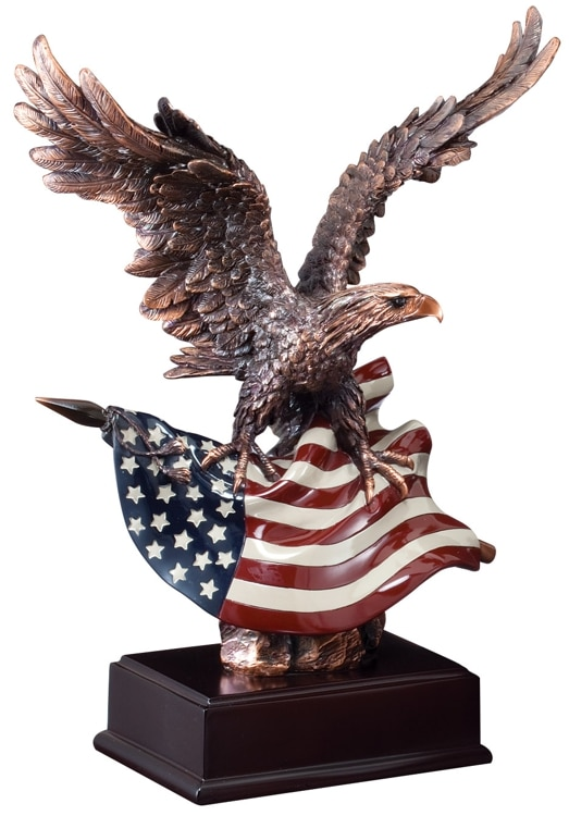 "Bronze eagle statue holding American flag mounted on dark wood base, RFB112 is 14.5"" tall, Weighs 8 lbs"