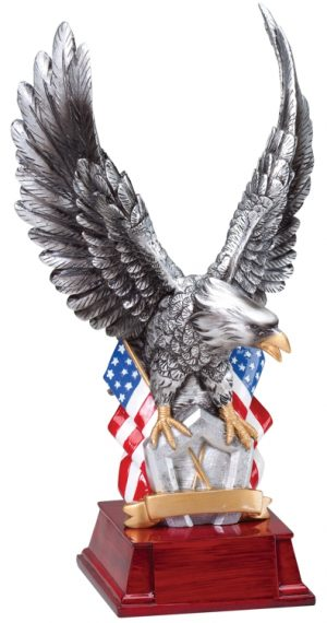 "Silver resin eagle with 2 American flags standing on a pentagon, mounted on rosewood base, AE305 is 11"" tall, Weighs 2.6 lbs."