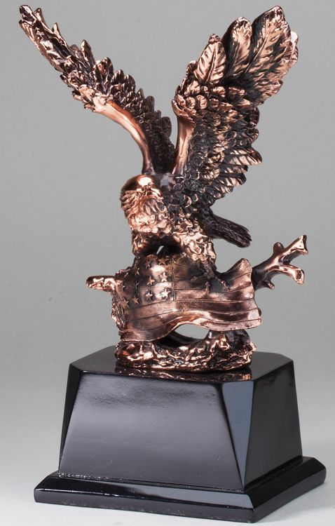 """Bronze eagle statue with a bronze American flag, mounted on black base, AE270 is 6.5"""" x 10.5"""" Size"""