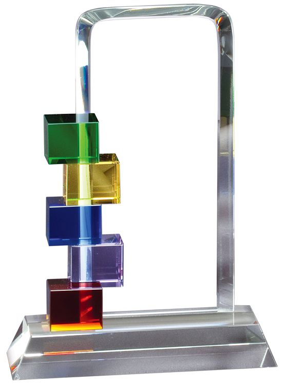 "Clear glass piece for engraving personalization with colored blocks on the side, GL75, 10"" tall, Weighs 5 lbs"