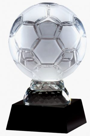 CRY283 Crystal Soccer Ball Trophy