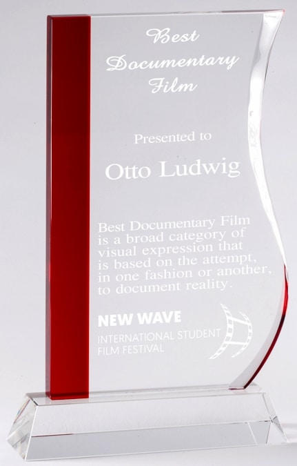 CRY598 Red Wave Crystal Award