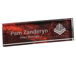 Red Marble Acrylic Name Plate VLX873Y-RD