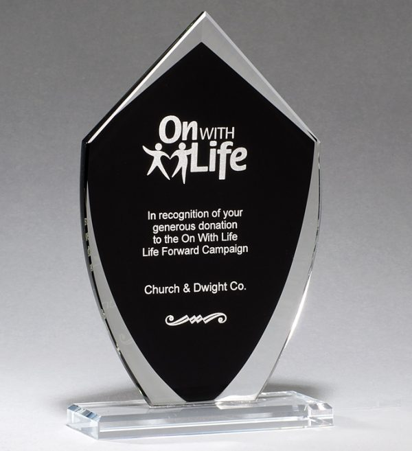 Black Shield Glass Award G2920 G2921 G2922, Shield shaped piece of glass with black area for engraving