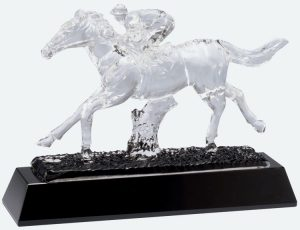 Crystal race horse with a jockey trophy